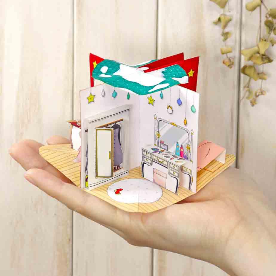Новогодняя поп ап открытка своими руками, модель из бумаги