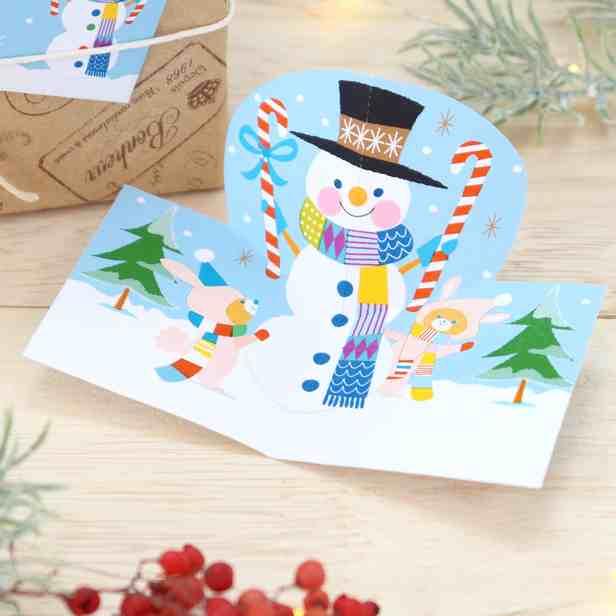 Объемная открытка Снеговик, своими руками из бумаги