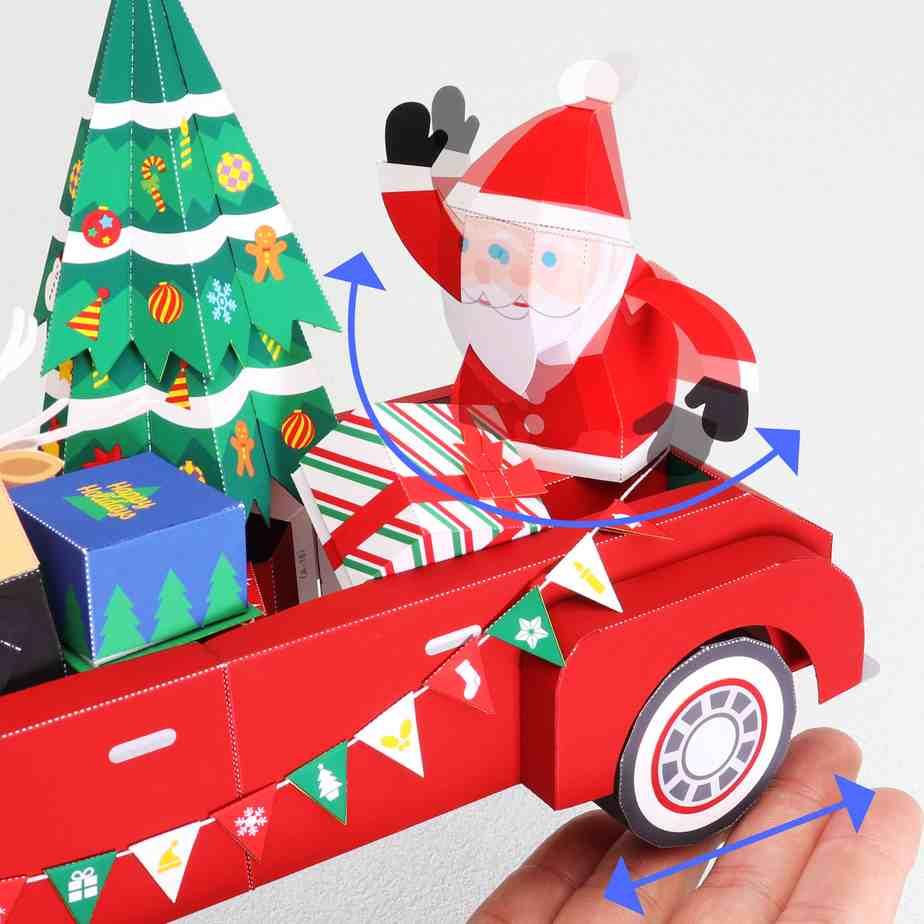Автомобиль Деда Мороза, модель из бумаги, музей на столе, игрушка под елку