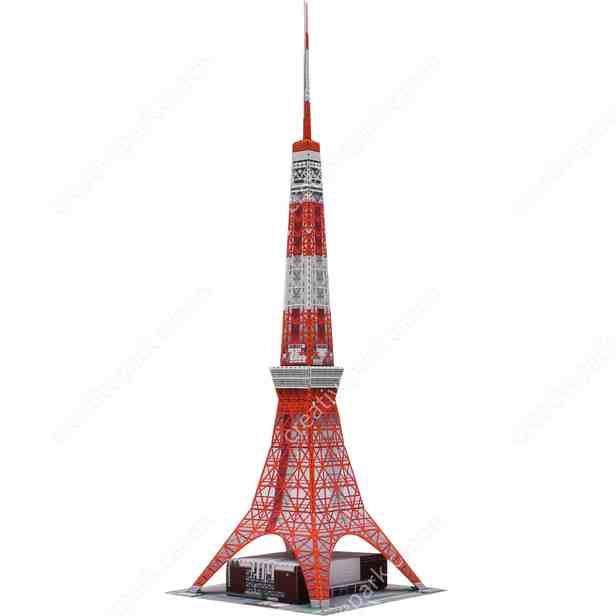 Телевизионная башня Токио, Япония, музей на столе, модель из бумаги
