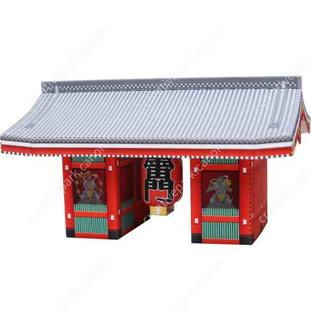 Ворота Каминаримон в храме Сэнсо-дзи, модель из бумаги, музей на столе