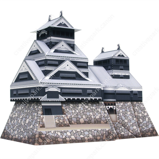 Замок Кумамото, Япония, модель из бумаги, музей на столе